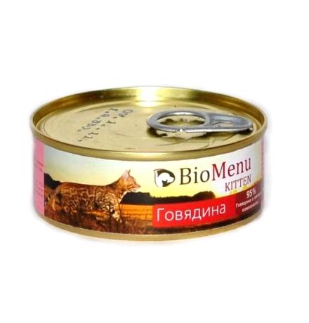 BioMenu Kitten Консервы для Котят мясной паштет с Говядиной