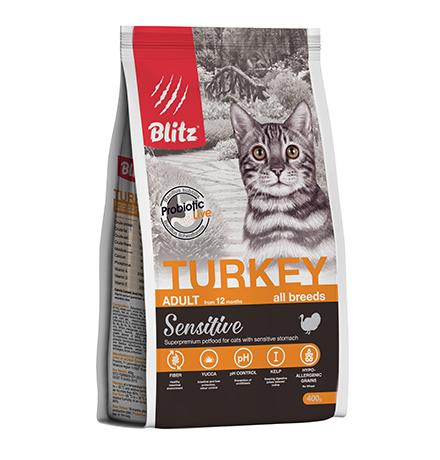 Blitz Sensitive Adult Turkey / Сухой корм Блиц для взрослых кошек Индейка