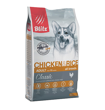 Blitz Classic Adult All Breeds Chicken & Rice / Сухой корм Блиц для взрослых собак всех пород Курица рис