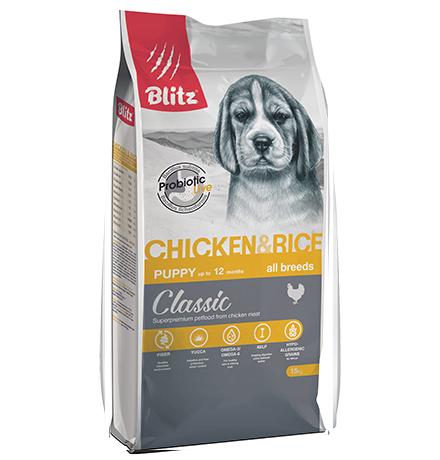 Blitz Puppy Classic All Breeds Chicken & Rice / Сухой корм Блиц для Щенков всех пород Курица рис