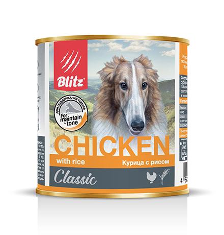 Blitz Classic / Консервы Блиц для собак Курица с Рисом (цена за упаковку)