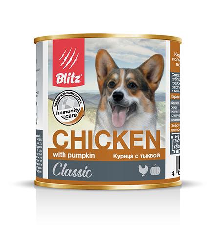 Blitz Classic / Консервы Блиц для собак Курица с Тыквой (цена за упаковку)