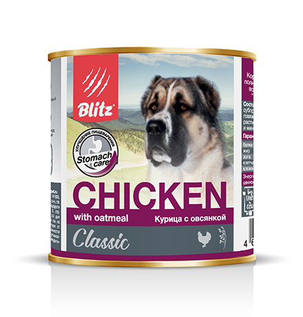 Blitz Classic / Консервы Блиц для собак Курица с Овсянкой (цена за упаковку)
