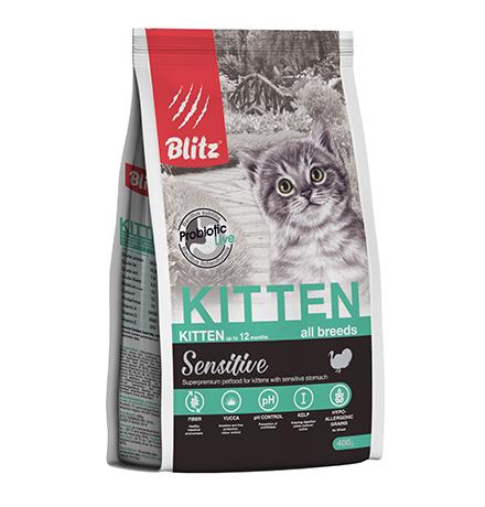 Blitz Kitten Sensitive All Breeds Turkey / Сухой корм Блиц для Котят, беременных и кормящих кошек всех пород Индейка