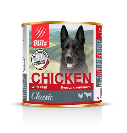 Blitz Classic / Консервы Блиц для собак Курица с Телятиной (цена за упаковку)