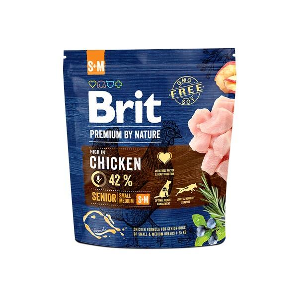 Brit Premium by Nature Senior S+M / Сухой корм Брит Премиум для Пожилых собак старше 7 лет Мелких и Средних пород Курица