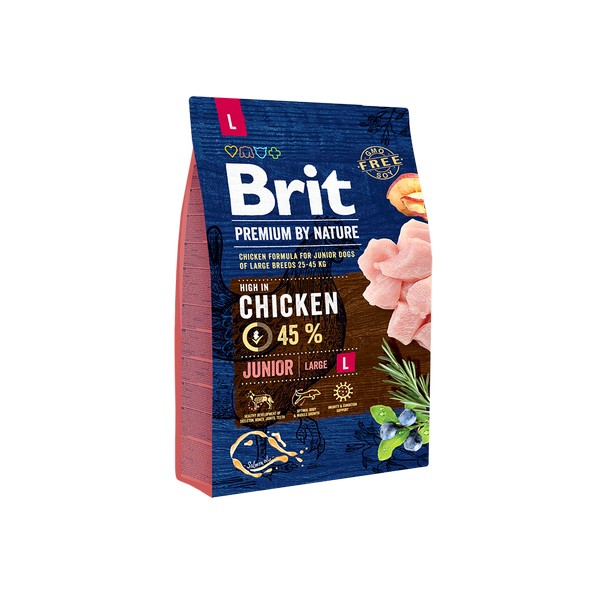 Brit Premium by Nature Junior L / Сухой корм Брит Премиум для Молодых собак Крупных пород Курица