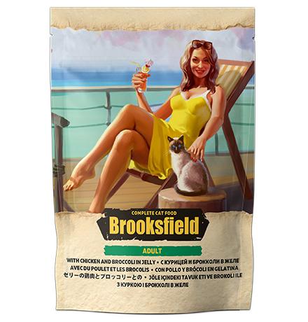 Brooksfield Cat Adult Chicken with Broccoli / Паучи Бруксфилд для взрослых кошек Курица с брокколи в желе (цена за упаковку)