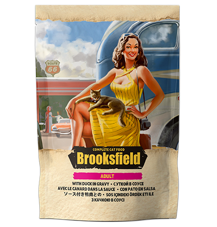 Brooksfield Cat Adult Duck / Паучи Бруксфилд для взрослых кошек Утка в соусе (цена за упаковку)