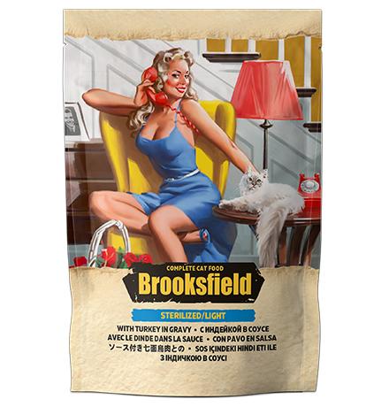 Brooksfield Cat Sterilized/Light Turkey / Паучи Бруксфилд для взрослых кошек Индейка в соусе (цена за упаковку)