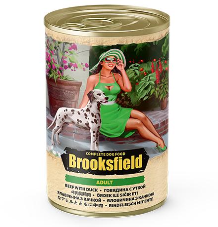 Brooksfield Dog Adult / Консервы Бруксфилд для взрослых собак Говядина с Уткой и рисом (цена за упаковку)