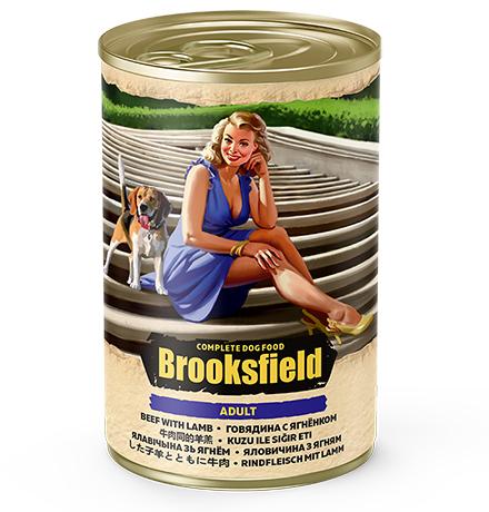 Brooksfield Dog Adult / Консервы Бруксфилд для взрослых собак Говядина с Ягненком и рисом (цена за упаковку)