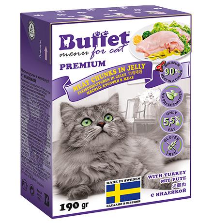Buffet Premium / Влажный корм Бафет для взрослых кошек всех пород Мясные кусочки в желе с Индейкой (цена за упаковку)