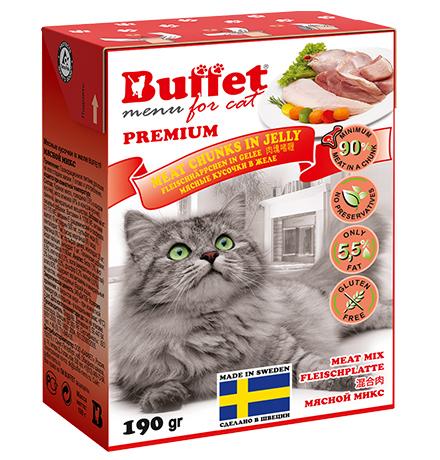 Buffet Premium / Влажный корм Бафет для взрослых кошек всех пород Мясные кусочки в желе Мясной Микс (цена за упаковку)