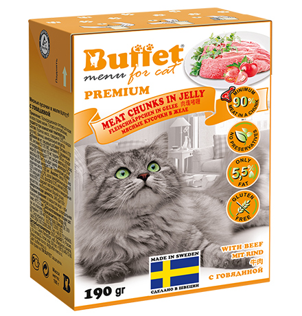 Buffet Premium / Влажный корм Бафет для взрослых кошек всех пород Мясные кусочки в желе с Говядиной (цена за упаковку)