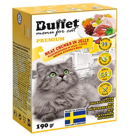 Buffet Premium / Влажный корм Бафет для взрослых кошек всех пород Мясные кусочки в желе с Куриной печенью (цена за упаковку)