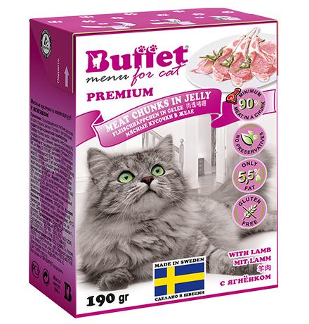Buffet Premium / Влажный корм Бафет для взрослых кошек всех пород Мясные кусочки в желе с Ягненком (цена за упаковку)
