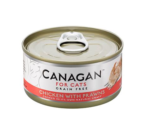 Canagan GF Chicken with Prawns / Полнорационные Беззерновые консервы Канаган для кошек Цыпленок с Креветками (цена за упаковку)