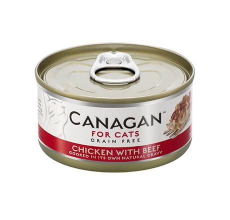 Canagan GF Chicken with Beef / Полнорационные Беззерновые консервы Канаган для кошек Цыпленок с Говядиной (цена за упаковку)