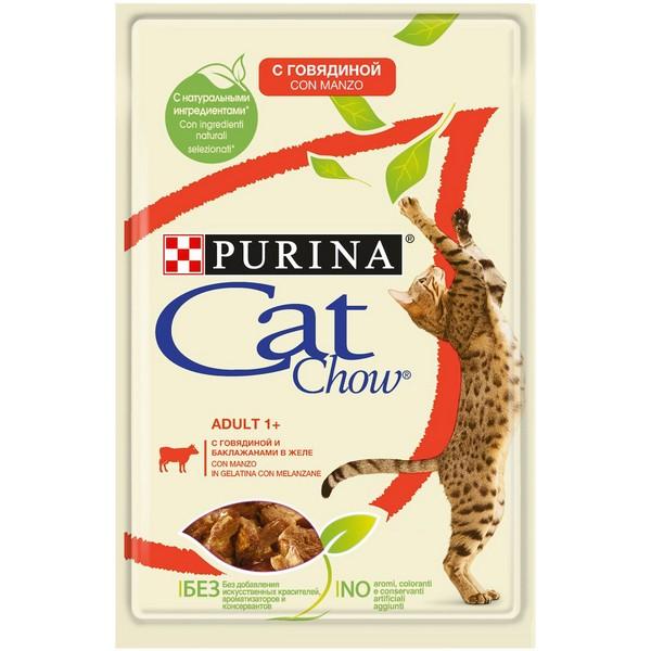 Purina Cat Chow Beef / Паучи Пурина Кэт Чау для кошек с Говядиной и баклажанами в желе (цена за упаковку)