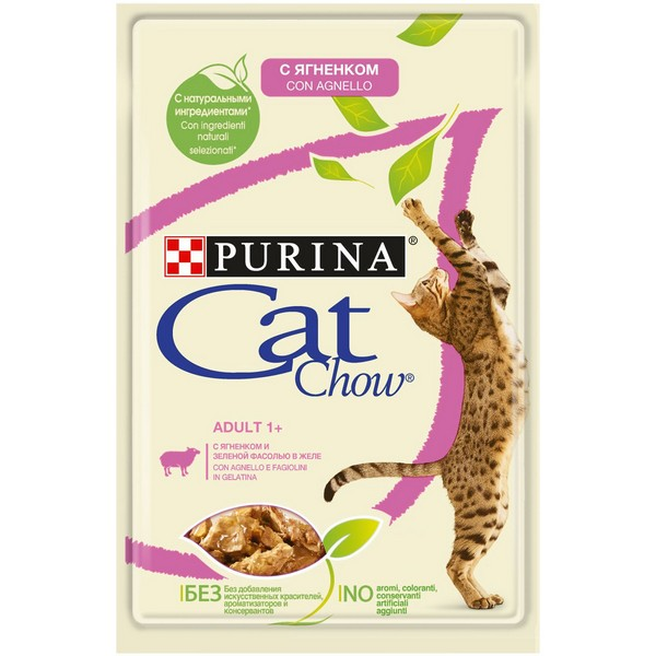 Purina Cat Chow Lamb / Паучи Пурина Кэт Чау для кошек с Ягненком и зеленой фасолью в желе (цена за упаковку)