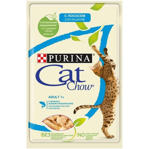 Purina Cat Chow Salmon / Паучи Пурина Кэт Чау для кошек с Лососем и зеленым горошком в желе (цена за упаковку)