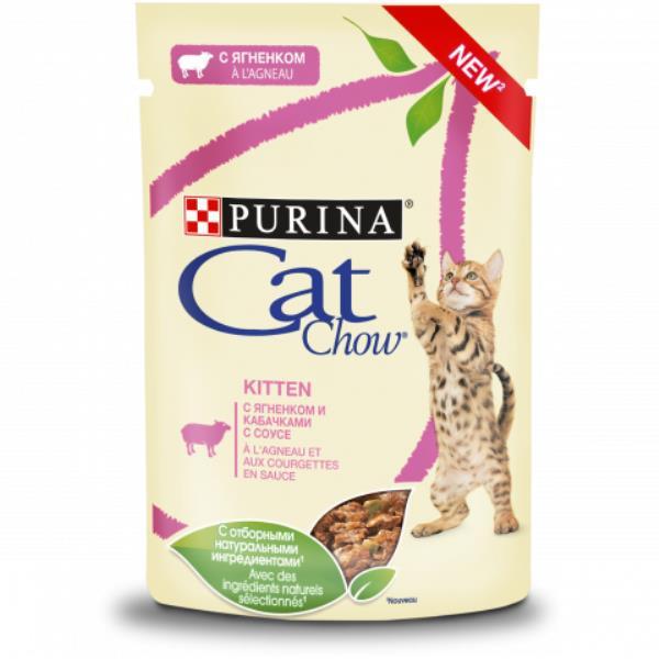 Purina Cat Chow / Паучи Пурина Кэт Чау для Котят с Ягненком и кабачками в соусе (цена за упаковку)
