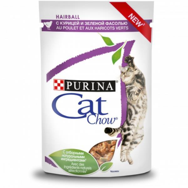 Purina Cat Chow Hairball / Паучи Пурина Кэт Чау для взрослых кошек против образования комков шерсти в ЖКТ с Курицей и зеленой фасолью в соусе (цена за упаковку)