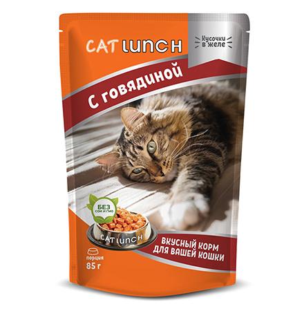 Cat Lunch / Паучи Кэт Ланч для кошек кусочки в желе с Говядиной (цена за упаковку)