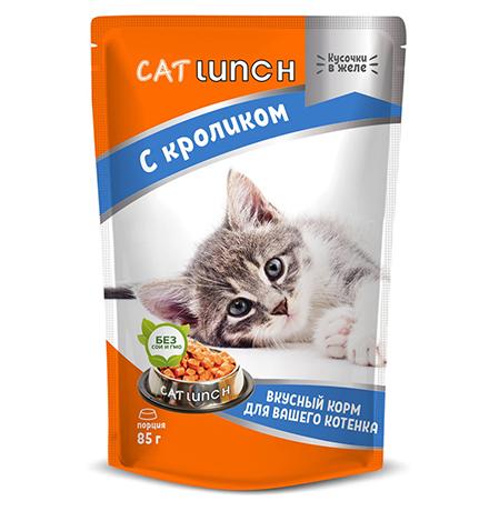 Cat Lunch / Паучи Кэт Ланч для Котят кусочки в желе с Кроликом (цена за упаковку)