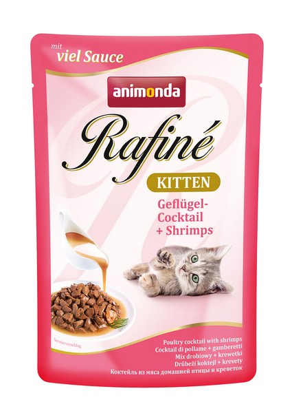 Animonda Rafine Soupe Kitten / Паучи Анимонда для Котят коктейль из мяса домашней Птицы и Креветок (цена за упаковку)