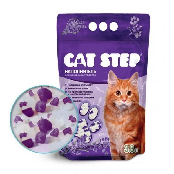 Cat Step / Силикагелевый наполнитель Кэт Степ для кошачьего туалета с ароматом Лаванды
