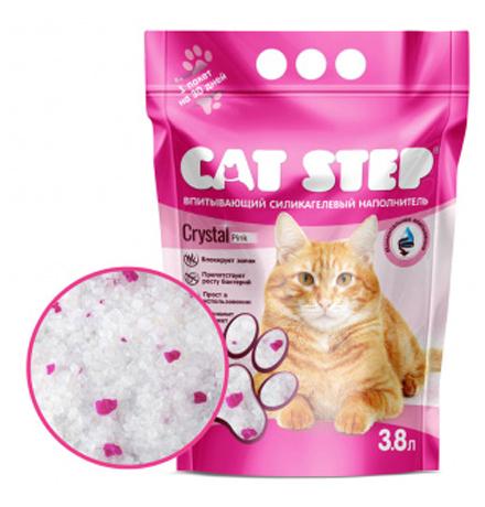 Cat Step Crystal Pink / Силикагелевый наполнитель Кэт Степ для кошачьего туалета с Розовыми гранулами