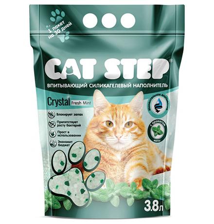 Cat Step Crystal Fresh Mint / Силикагелеввый наполнитель Кэт Степ для кошачьего туалета