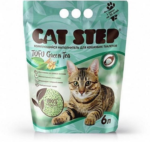 Cat Step Tofu Green Tea / Комкующийся растительный наполнитель Кэт Степ для кошачьего туалета Зеленый чай