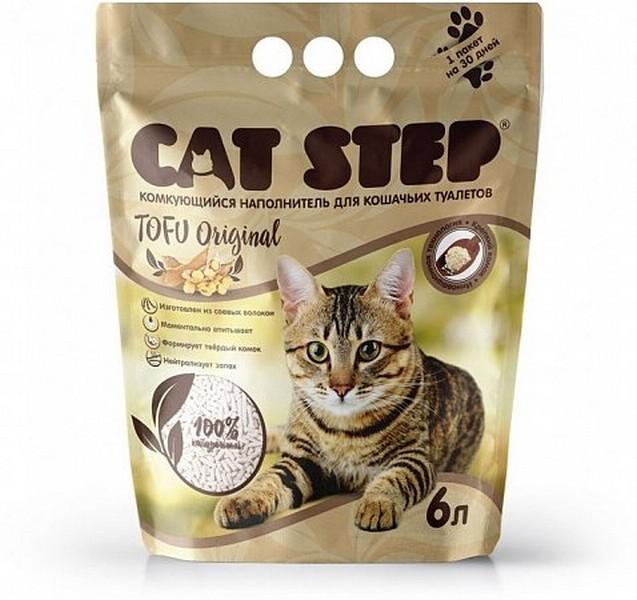 Cat Step Tofu Original / Комкующийся растительный наполнитель Кэт Степ для кошачьего туалета
