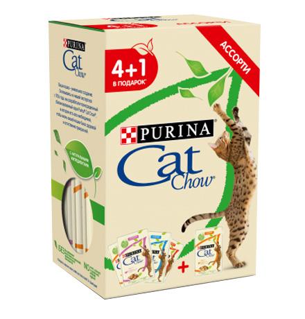 Purina Cat Chow / Паучи Пурина Кэт Чау для кошек Ассорти влажных кормов (цена за упаковку)