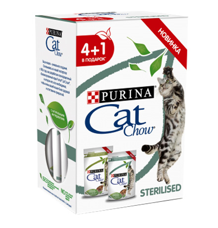Purina Cat Chow Sterilised / Паучи Пурина Кэт Чау для Стерилизованных кошек с Курицей и баклажанами в соусе и с Ягненком и зеленой фасолью (цена за упаковку)