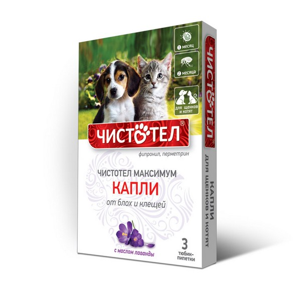 Чистотел Максимум / Капли для Щенков и Котят от Блох и Клещей