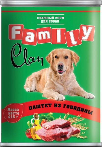 Clan Family / Консервы Клан для собак паштет из Говядины (цена за упаковку)