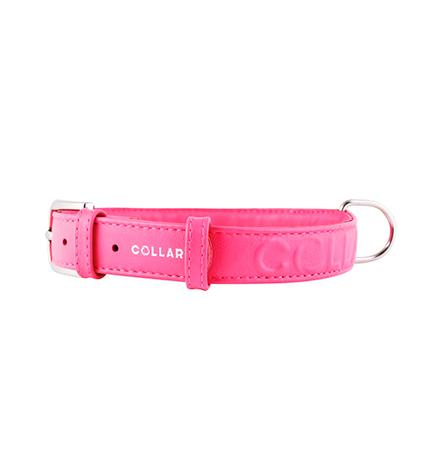 CoLLaR Glamour / Ошейник Колар для собак Кожаный Двойной Прошитый без украшений 30-39см х 20мм