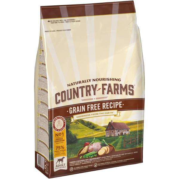 Country Farms Dog Adult Grain free recipe Chicken / Сухой Беззерновой полнорационный корм Кантри Фармз для взрослых собак с высоким содержанием Курицы