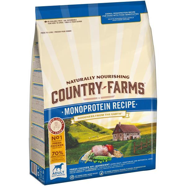 Country Farms Dog Adult Monoprotein recipe Chicken / Сухой Монопротеиновый полнорационный корм Кантри Фармз для взрослых собак с высоким содержанием Курицы