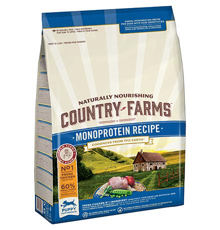 Country Farms Puppy Monoprotein recipe Chicken / Сухой Монопротеиновый полнорационный корм Кантри Фармз для Щенков с высоким содержанием Курицы