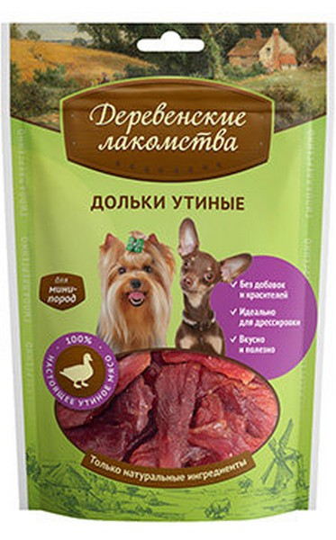 Деревенские лакомства / Дольки Утиные для собак Мини пород