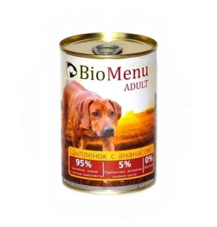 BioMenu Adult Консервы для Собак Цыпленок с Ананасами Цена за упаковку 410x12