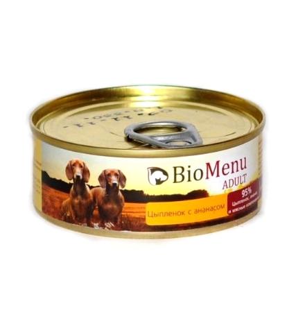 BioMenu Adult Консервы для Собак Цыпленок с Ананасами Цена за упаковку 100x24