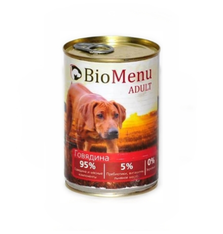 BioMenu Adult Консервы для Собак Говядина Цена за упаковку 410x12