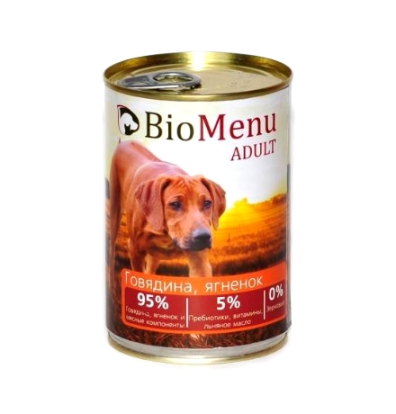 BioMenu Adult Консервы для Собак Говядина & Ягненок Цена за упаковку 410x12