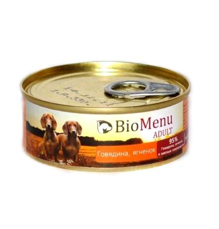 BioMenu Adult Консервы для Собак Говядина & Ягненок Цена за упаковку 100x24